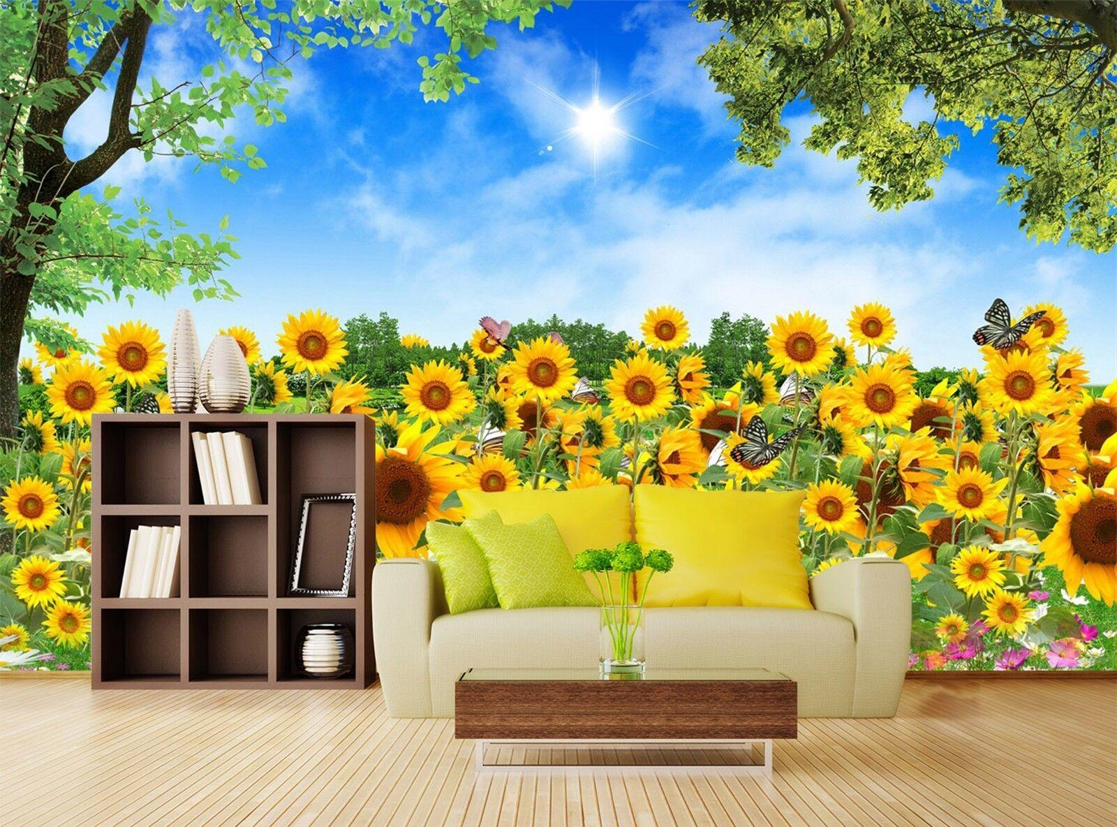 3D sky Sunflower flower field Wall Paper Print Decal Wall Deco Indoor wall Mural