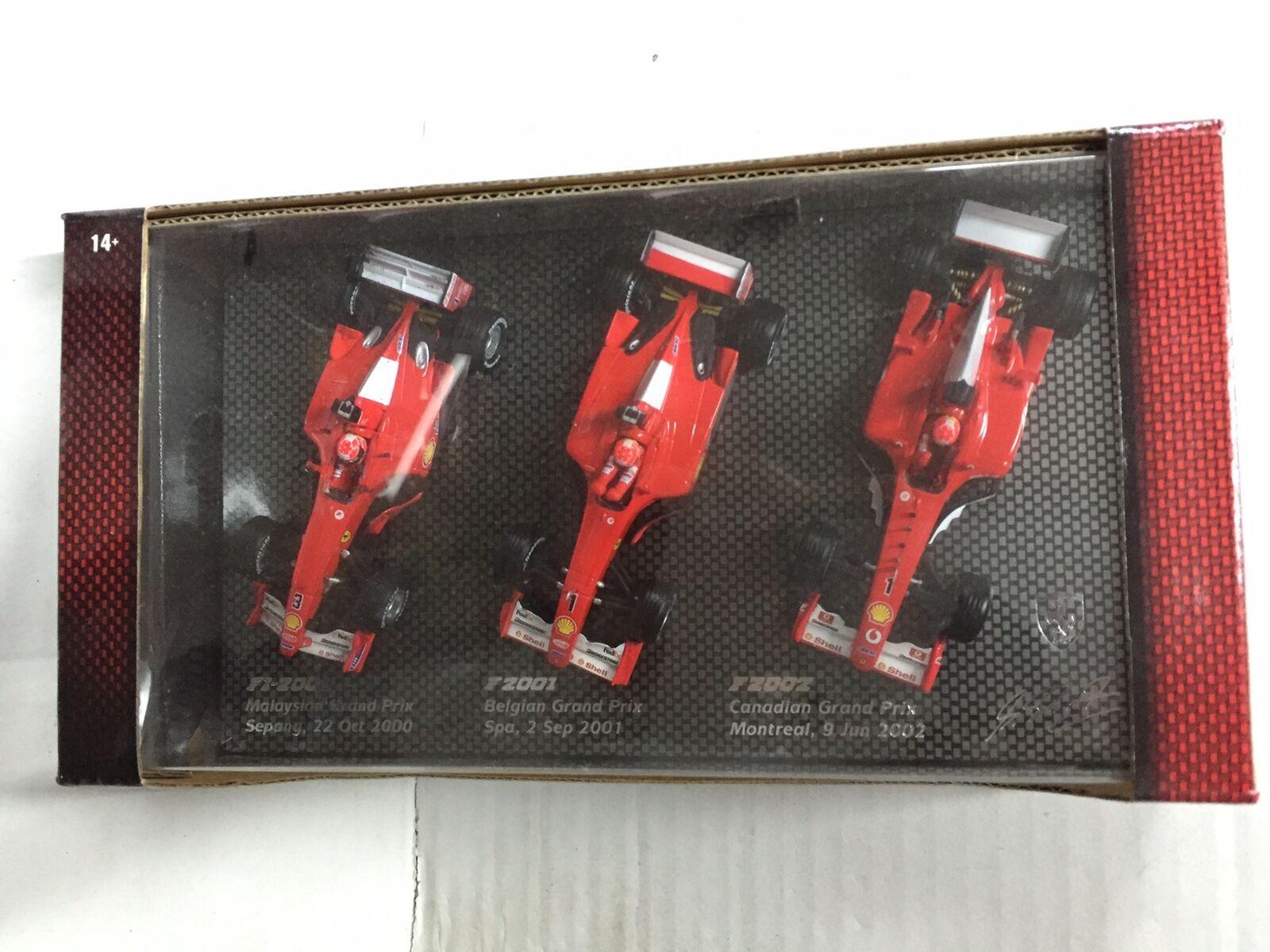 Hot Wheels 1 43 F1 FERRARI SET F1-2000, F2001, F2002 SCHUMACHER MIB, 2002