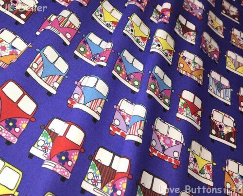 Rose /& Hubble 100/%Cotton Poplin Purple VW Campervan Style Fabric ½//full mtr /& FQ