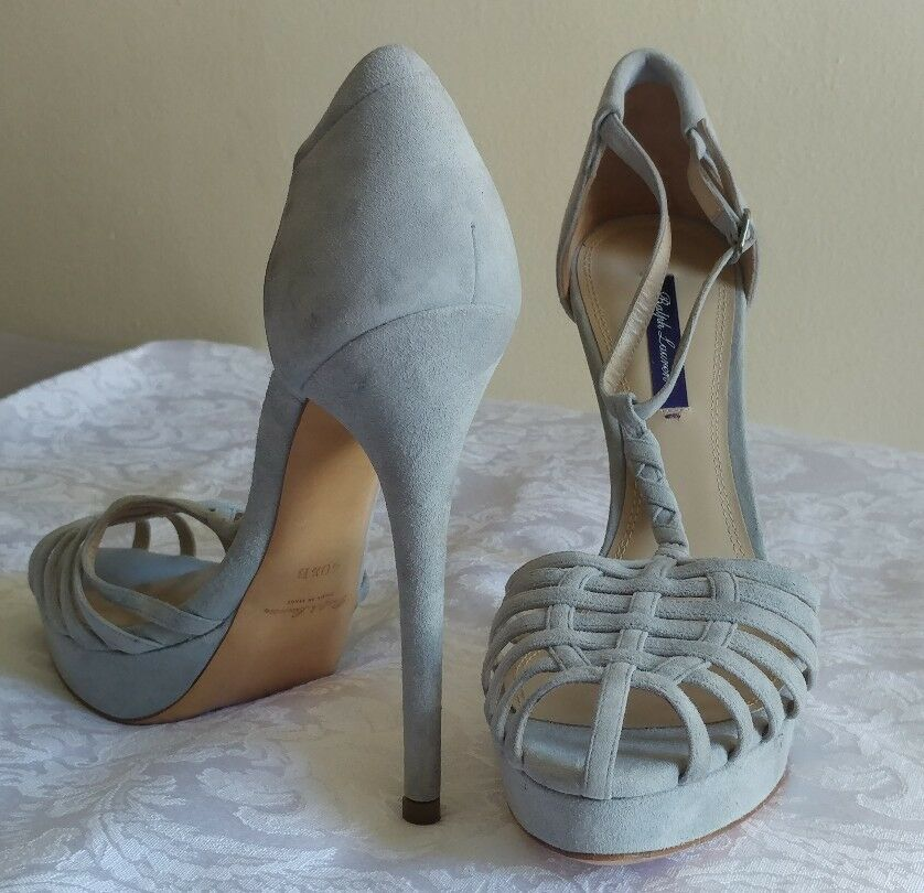 RALPH LAUREN PURPLE LABEL COLLECTION SUEDE HEELS SANDALS SIZE 10