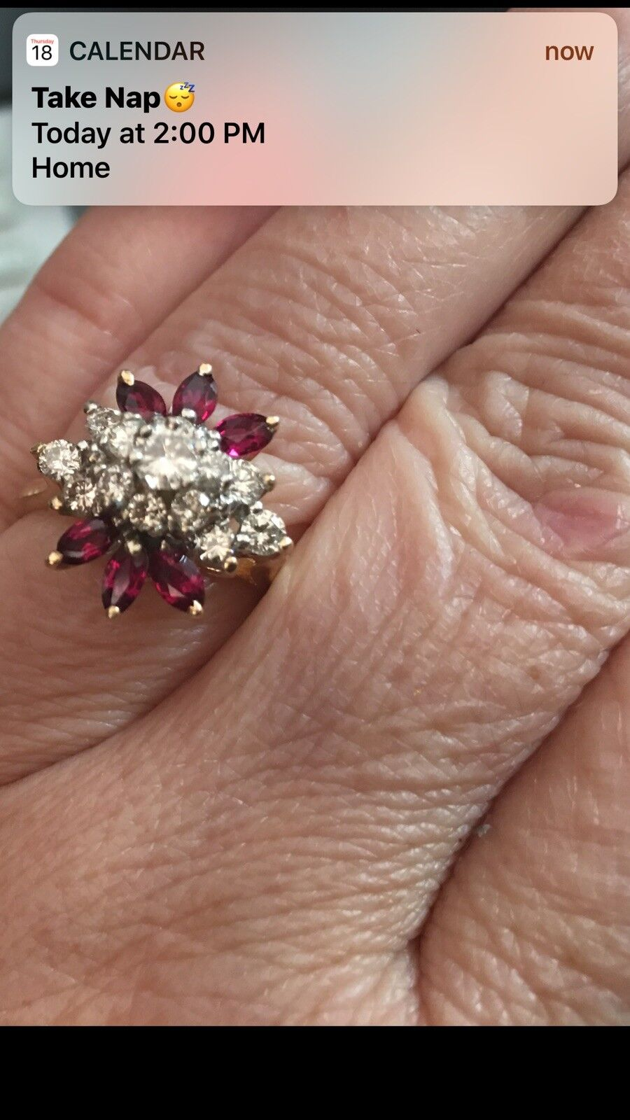 Ruby diamond ring 14k yellow gold