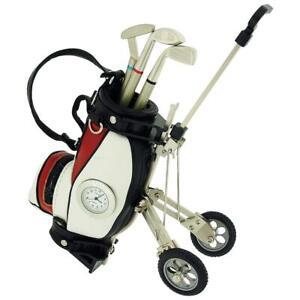 Miniature-Red-White-Golf-Cart-amp-Club-Pens-Collectors-Clock-Gift-Set-IMP431RW