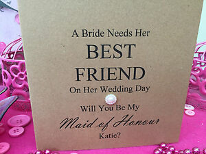 Personalised Will You Be My Bridesmaid Card, Maid of Honour, Chief, Friend etc.