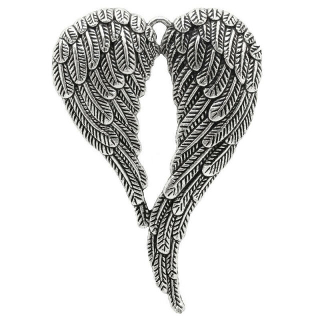 5Pcs Angel Wing Pendants Necklace Antique Style Tone Charm New 6.9x4.7cm(A V3N6