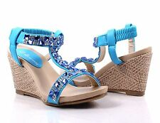 Ice Blue Wedges Sandals Ankle Strap Platform Womens High Heels Shoes Size 8