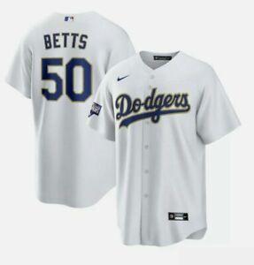 NIKE Los Angeles Dodgers World Series Champions Gold Mookie Betts Jersey MEDIUM