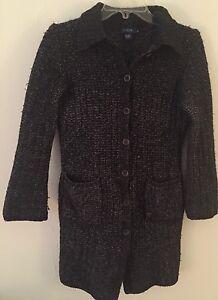 J-Crew-Women-039-s-Wool-Acrylic-Heavy-Cardigan-Jacket-Sweater-Sz-S-M-Charcoal-Gray