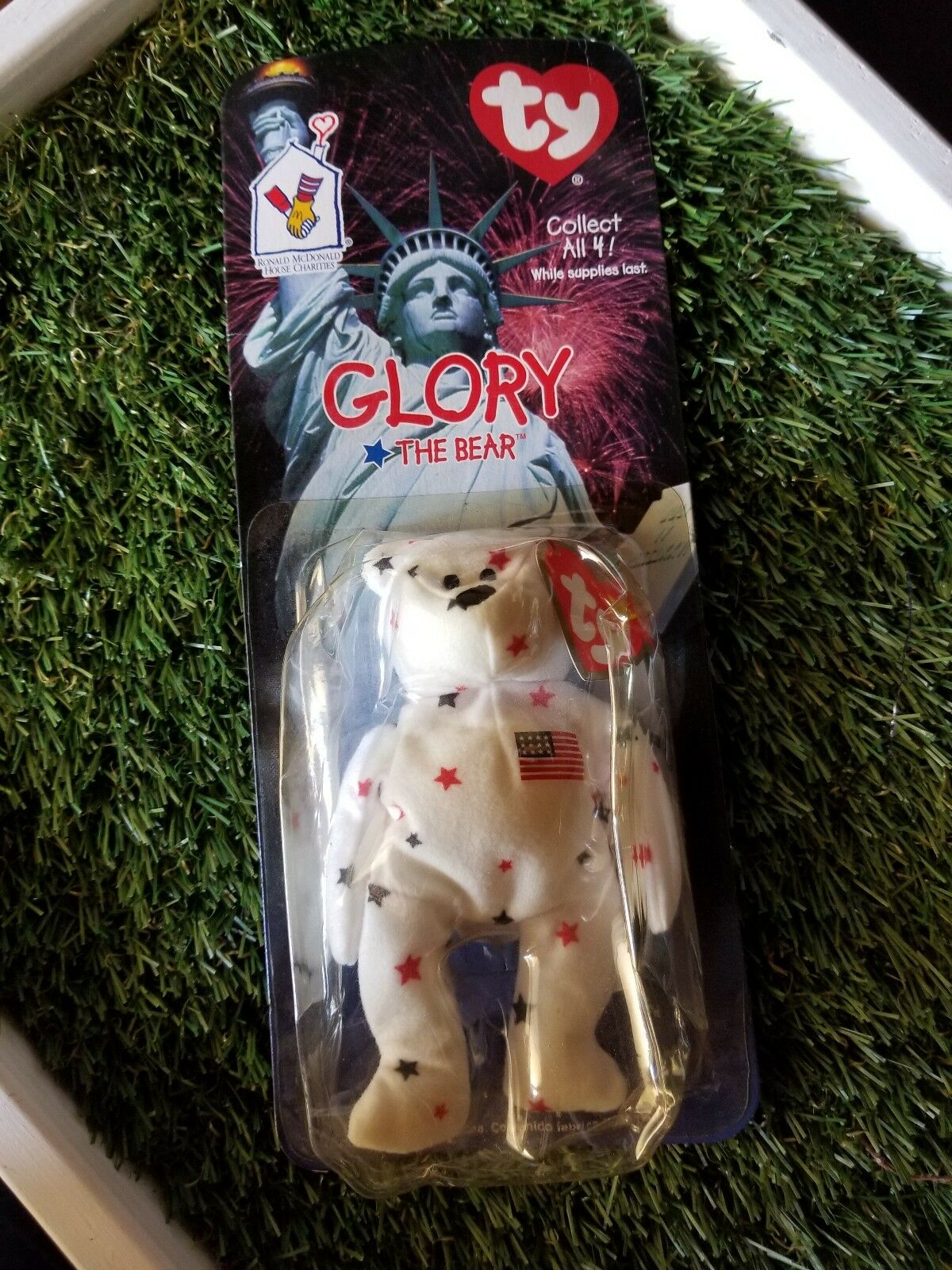 GLORY The Bear-1997 McDonalds Ty Beanie Baby with rare errors 1993, OakBrook