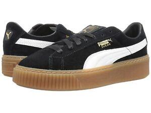 Details about New Women's Puma Suede Platform 363559 02 Black White Sneaker