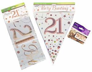Birthday Decoration Kit Banner Bunting Confetti Pink Men Women Him Her Boy Girl