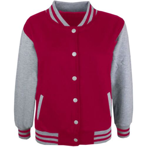 Kids Boys Girls Baseball Jacket Varsity Style Plain School Jacket Top 2-13 Years