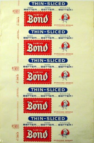 Vintage bread wrapper NEW BOND THIN SLICED Bondie boy Philadelphia new old stock
