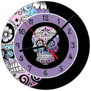 8-034-WALL-CLOCK-Sugar-Skull-15-Dia-de-los-Muertos-Day-of-the-Dead-Halloween