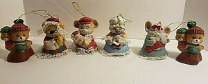 Lot-of-6-Caring-Critters-Porcelain-Chimers-Mothers-and-Babies