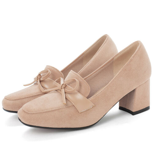 Women/'s Bowtie Pointed Toe Chunky Heel Slip On Caual Work Office Pumps Shoes