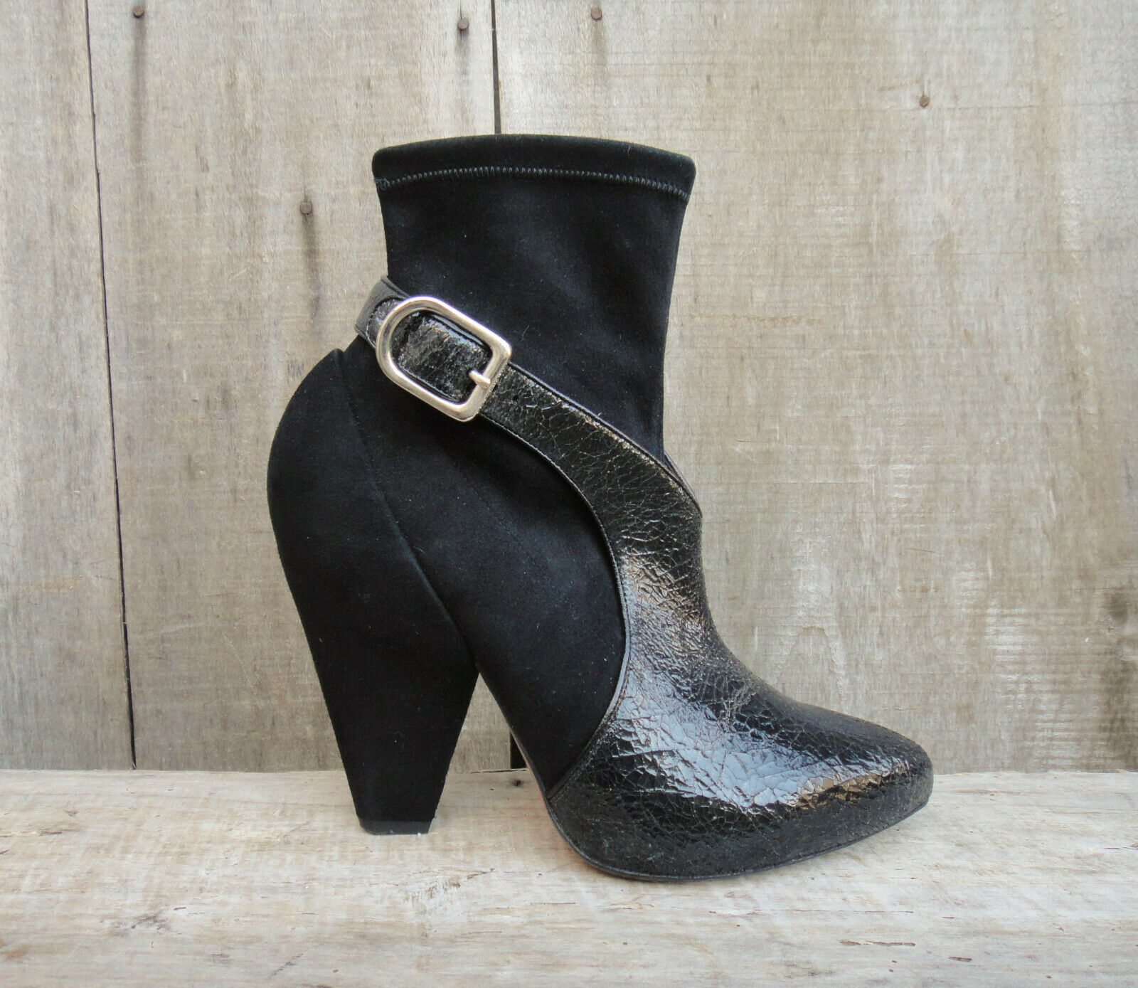 Bottines Sonia Rykiel en chevreau stretch et cuir verni