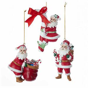 Set/3 Kurt Adler Jolly Candy Cane Santa Christmas Tree Ornament Retro Vntg Decor