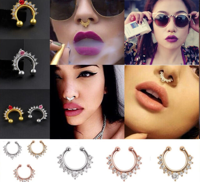 Fake Clip On Non Piercing Crystal Tribal Swirls Septum Nose Ring Faux Clicker