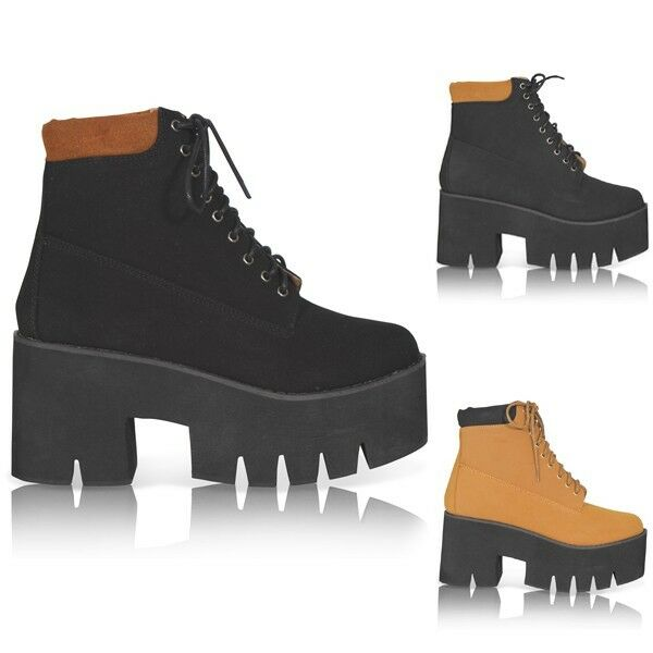 NEW WOMENS LADIES CHUNKY CLEATED SOLE PLATFORM LACE UP ANKLE BOOTS SIZE 3-8