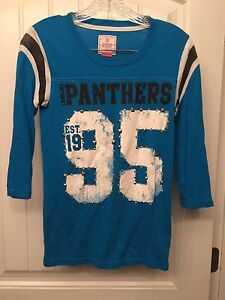 brand new 392ee 6af0e Details about PINK by VICTORIA'S SECRET Size Small Carolina Panthers  Distressed Jersey Shirt