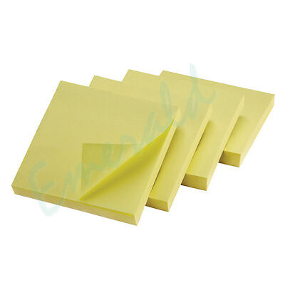 """400 Remove Sticky Post It Notes 76mm x 76mm 3"""" x 3"""" (4 packs of 100)"""