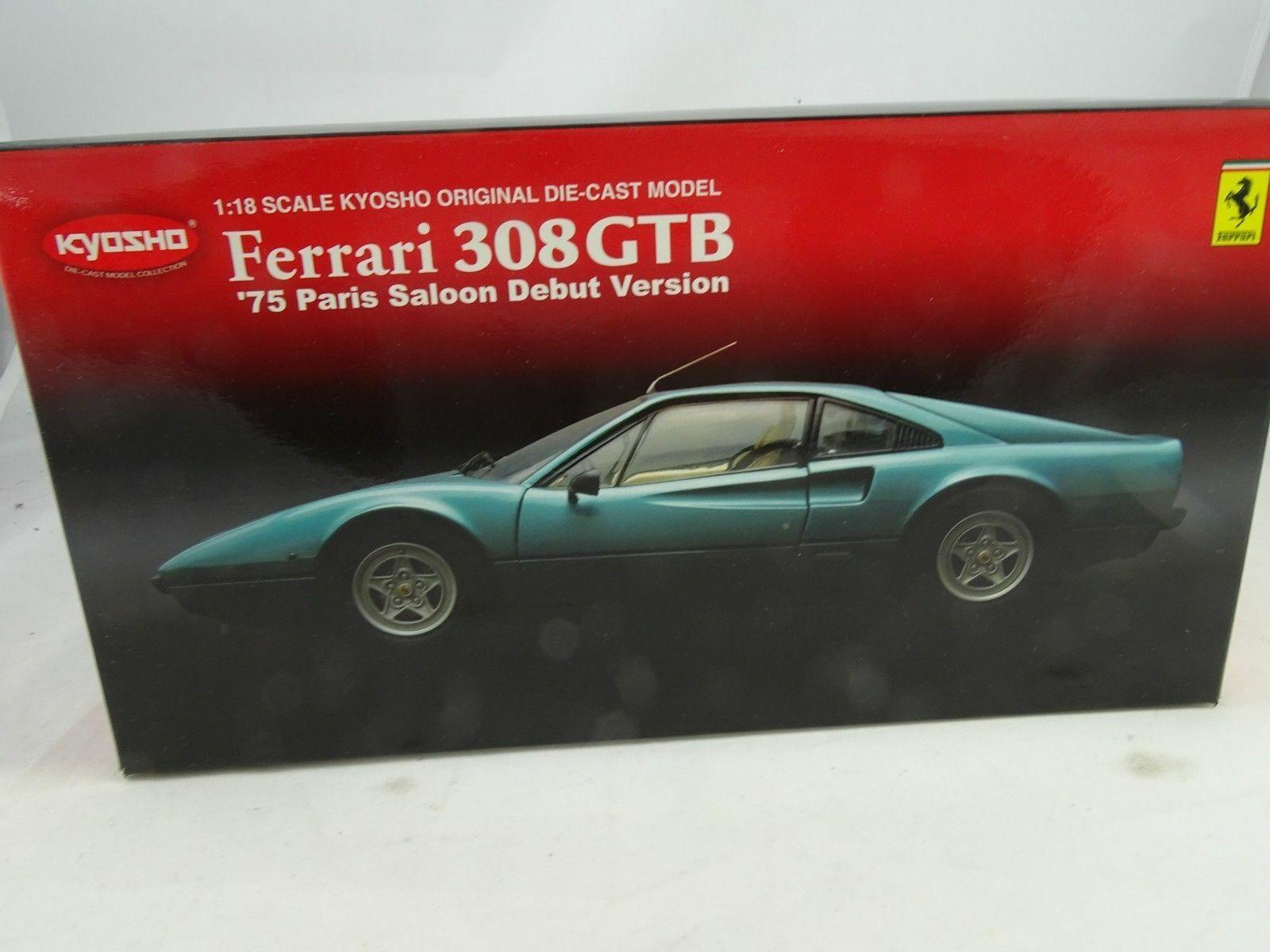 1 18 Kyosho ferrari 308gtb 1975 parís debut versión azulverde rareza nuevo en el embalaje original