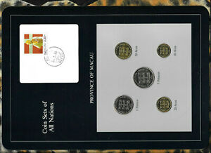 Coin-Sets-of-All-Nations-Macau-w-card-UNC-All-1982-5-1-Patacas-50-20-10-Avos