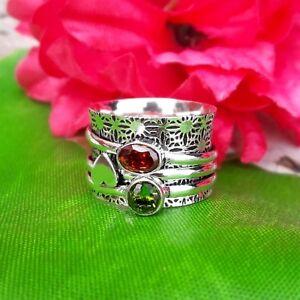 Garnet-Peridot-Solid-925-Sterling-Silver-Spinner-Ring-Meditation-Ring-sr98024