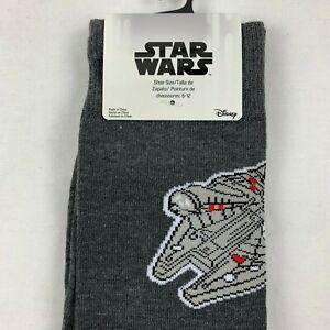 Details about Star Wars Han Solo Millenium Falcon Socks Men's Casual Gray Socks Shoe Sz 6 12