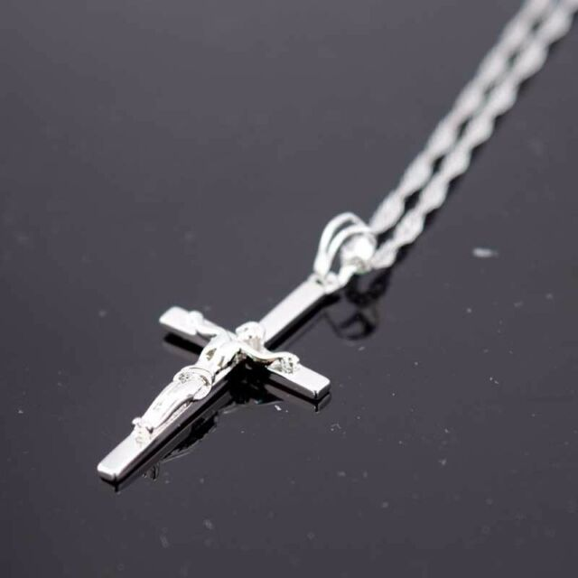 """18K Yellow Gold Filled Cross Jesus Pendant Necklace 18/""""Chain Link GF Jewelry Hot"""
