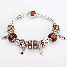 XMAS wholesale solid Silver European Murano Glass Bead Charm Bracelet +Box XB098