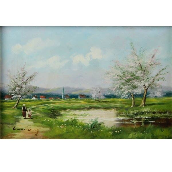 Rural Landscape Oil on Board Framed Signed Artist Painting