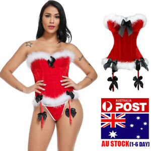 7f188ead163 Image is loading Women-Christmas-Lingerie-Sexy-Santa-Outfit-Dress-Velet-