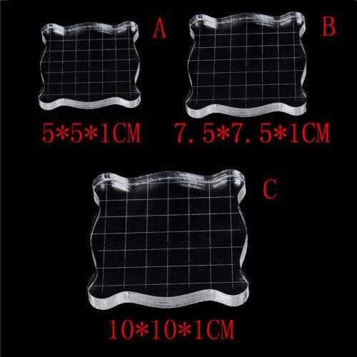 Transparent Scrapbook Clear Stamp Pad DIY Tool Supplies Acrylic Block 3 Sizes FJ