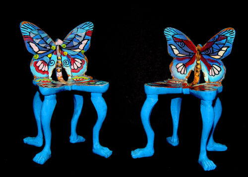 Pedro Friedeberg Hand Carved Sculpture Butterfly Chair Painting Signed Artwork
