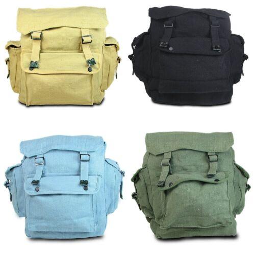 Neu Groß Retro Web Angeln Militär Leinen Rucksack Tasche