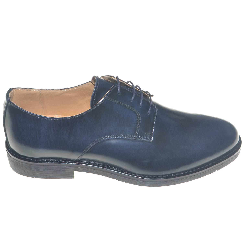 Scarpe uomo fondo gomma antiscivolo vera pelle abrasivato blu classica cerimonia Scarpe classiche da uomo