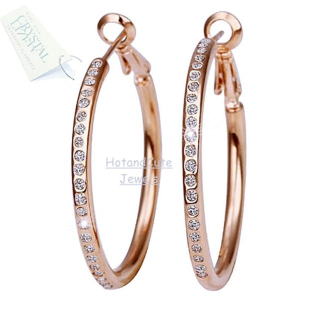 Hot 18K White Rose GOLD Plated GP Circle Hoops Swarovski Crystal Earrings NWT