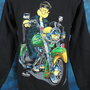 vtg-90s-POPEYE-BIKER-CARTOON-CREWNECK-SWEATSHIRT-T-Shirt-XS-motorcycle-sailor