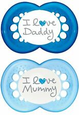 MAM Style I Love Mummy & Daddy Soothers with Sterilisable Travel Case 6m+ Blue