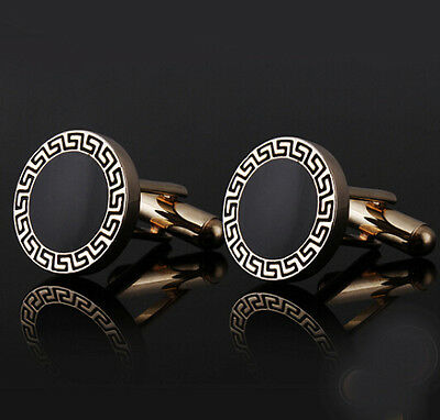Round Enamel Men Cufflinks Wedding Business Shirt Black Gold Gift