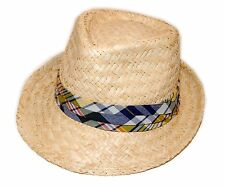 Polo Ralph Lauren Mens Womens Natural Straw Beach Fedora Hat Madras Plaid L/XL