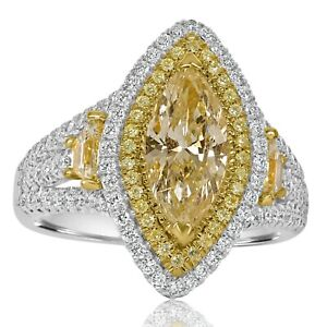 Marquise-Cut-Yellow-Diamond-2-66-Ct-Engagement-Ring-Halo-Split-18k-Gold-Band
