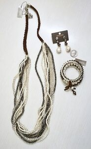 NWT-143-Chico-s-Nova-Multi-Strand-Necklace-Bracelet-amp-Earrings-Set-Neutral