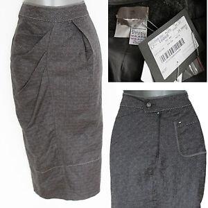Skirt Eu Formal Casual £290 38 Pencil Grey 10 Sportmax Size Linen Midi Nwt xqvA0TA