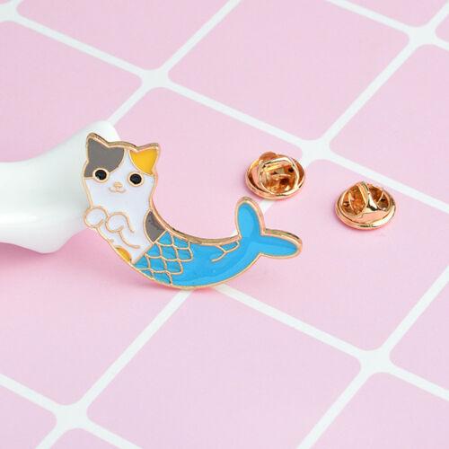 Enamel Mermaid Cat Brooch Pins Shirt Collar Pin Breastpin Women Jewelry GifFDFH