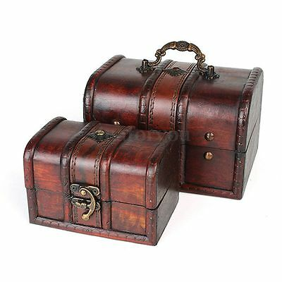 Vintage Wood Lock Jewelry Storage Box Necklace Treasure Storage Organizer Holder