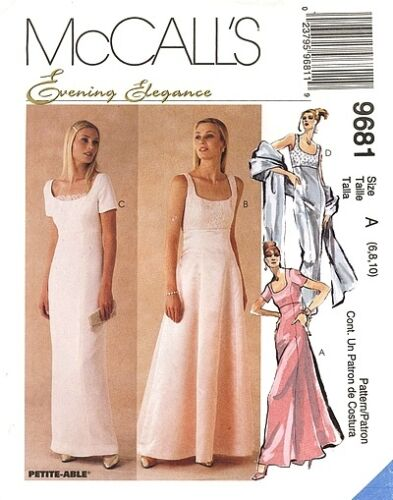 Reduced! McCall's 9681 Evng Elgance Lined Gown &Scarf Pattern 610