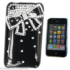 COOL BLING DESIGNER BLACK 3D BOW DIAMANTE STYLISH CASE COVER FOR IPHONE 3 3gs UK