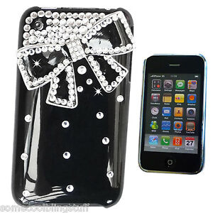 COOL-BLING-DESIGNER-BLACK-3D-BOW-DIAMANTE-STYLISH-CASE-COVER-FOR-IPHONE-3-3gs-UK